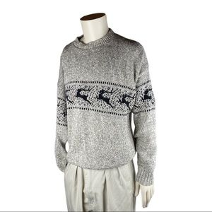 Northern Isles Gray Reindeer Knit Sweater Pullover